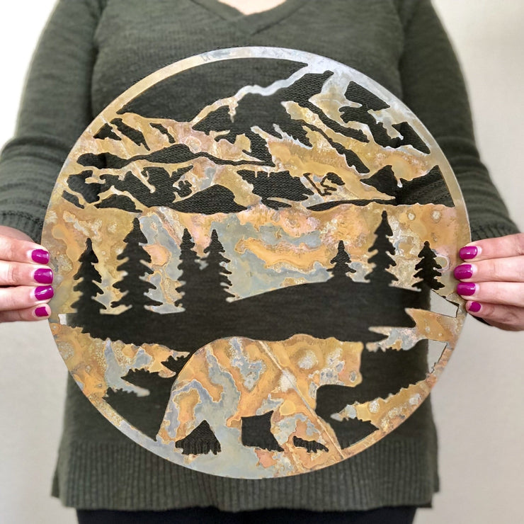 "Round Bear Scene - 15"" Rustic Metal Mountain Sign"