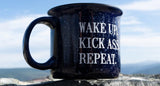 "BACK IN STOCK!  ""Wake Up. Kick Ass. Repeat.""  The Outlaw's Agenda Coffee Mug."