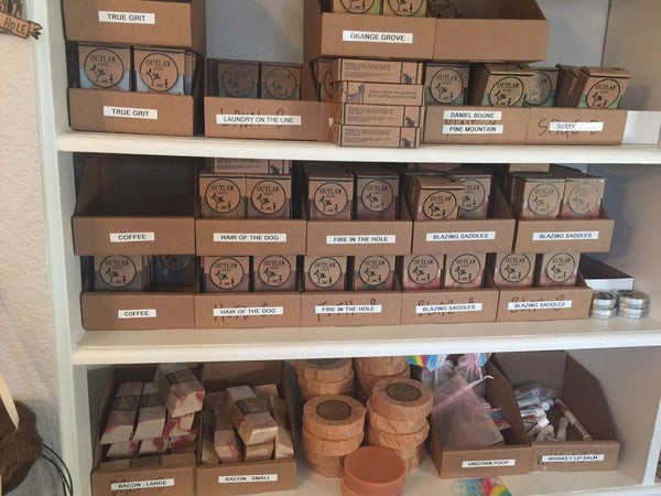 handmade soap on shelves