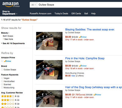 our soap on Amazon