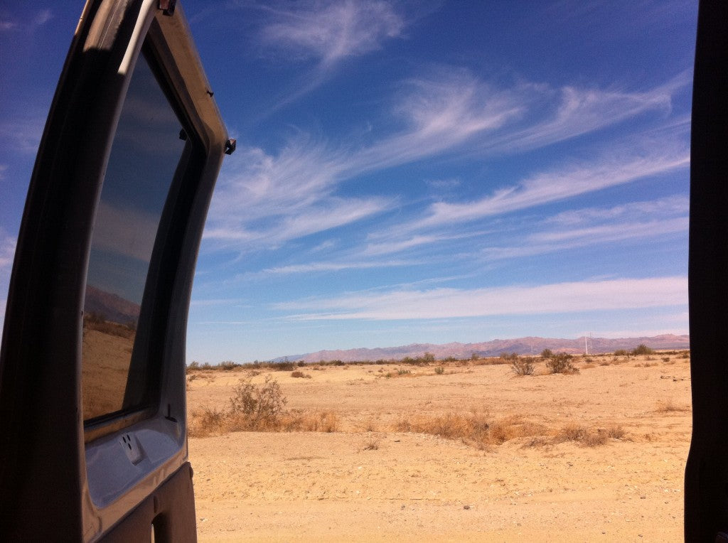 This is a view from near Slab City out the back of my old van (rest in peace). If you want to read more about Slab City, you can do that here and I really recommend looking at East Jesus here. East Jesus is maintained by friends of mine.
