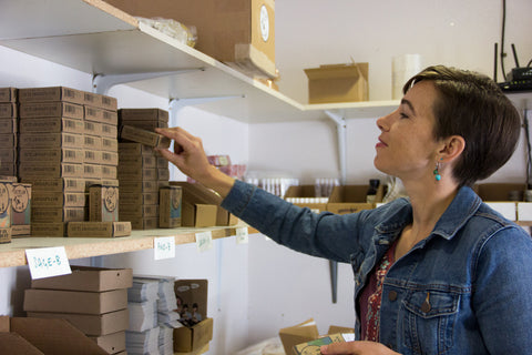 Ruth at Outlaw Soaps fulfilling orders from our website