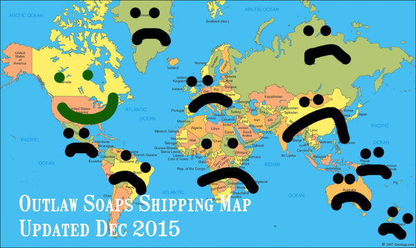 Outlaw Soaps Shipping Map