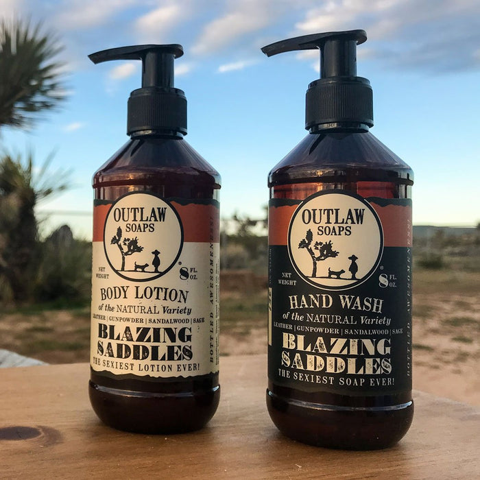 Blazing Saddles Natural Hand Wash and Lotion Set: Set some sexy by your sink - Outlaw Soaps Western Soap and Lotion for Lovers of the Wild West