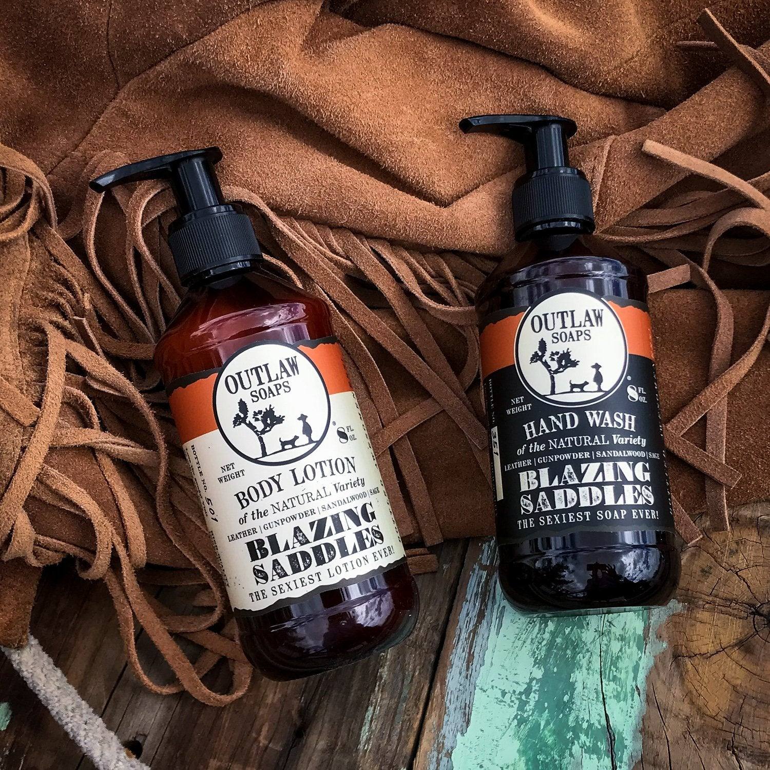Blazing Saddles Hand Wash and Lotion Set Hand Wash & Lotion Set The Sexiest Scent Ever: Warm Leather | Gunpowder | Sagebrush | Sandalwood