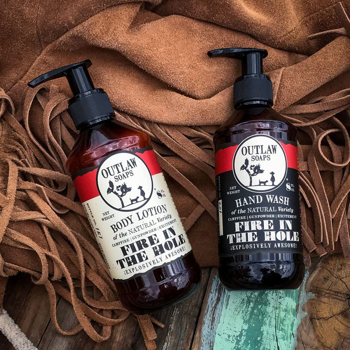 Fire in the Hole Natural Hand Wash and Lotion Set: Explosively awesome campfire-inspired - Outlaw Soaps Western Soap and Lotion for Lovers of the Wild West