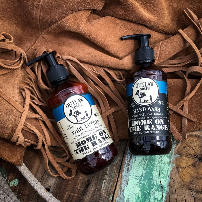 Home on the Range Natural Hand Wash and Lotion Set: The smell of peace - Outlaw Soaps Western Soap and Lotion for Lovers of the Wild West