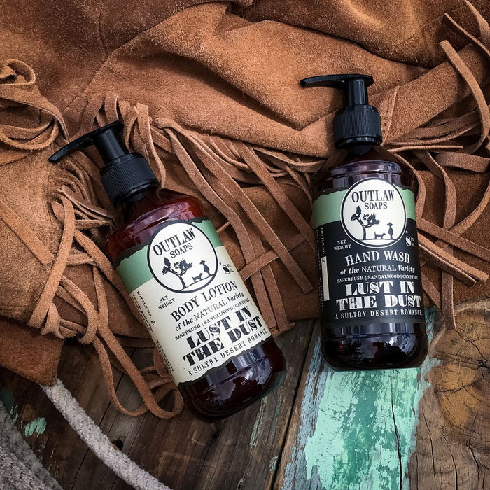 Lust in the Dust Natural Hand Wash and Lotion Set: The desert Western romance everywhere you go - Outlaw Soaps Western Soap and Lotion for Lovers of the Wild West