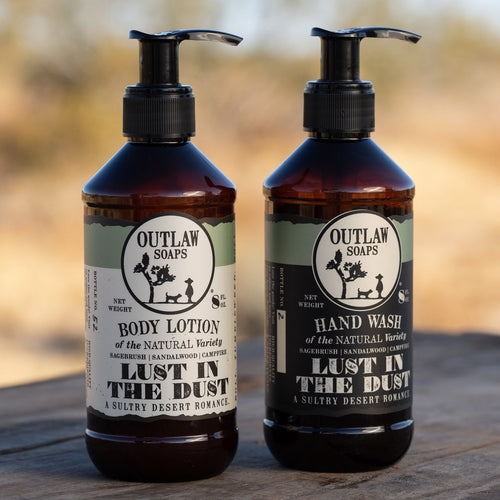 Lust in the Dust Hand Wash and Lotion Set Hand Wash & Lotion Set The Desert Western Romance Everywhere You Go: Sagebrush | Sandalwood | Campfire