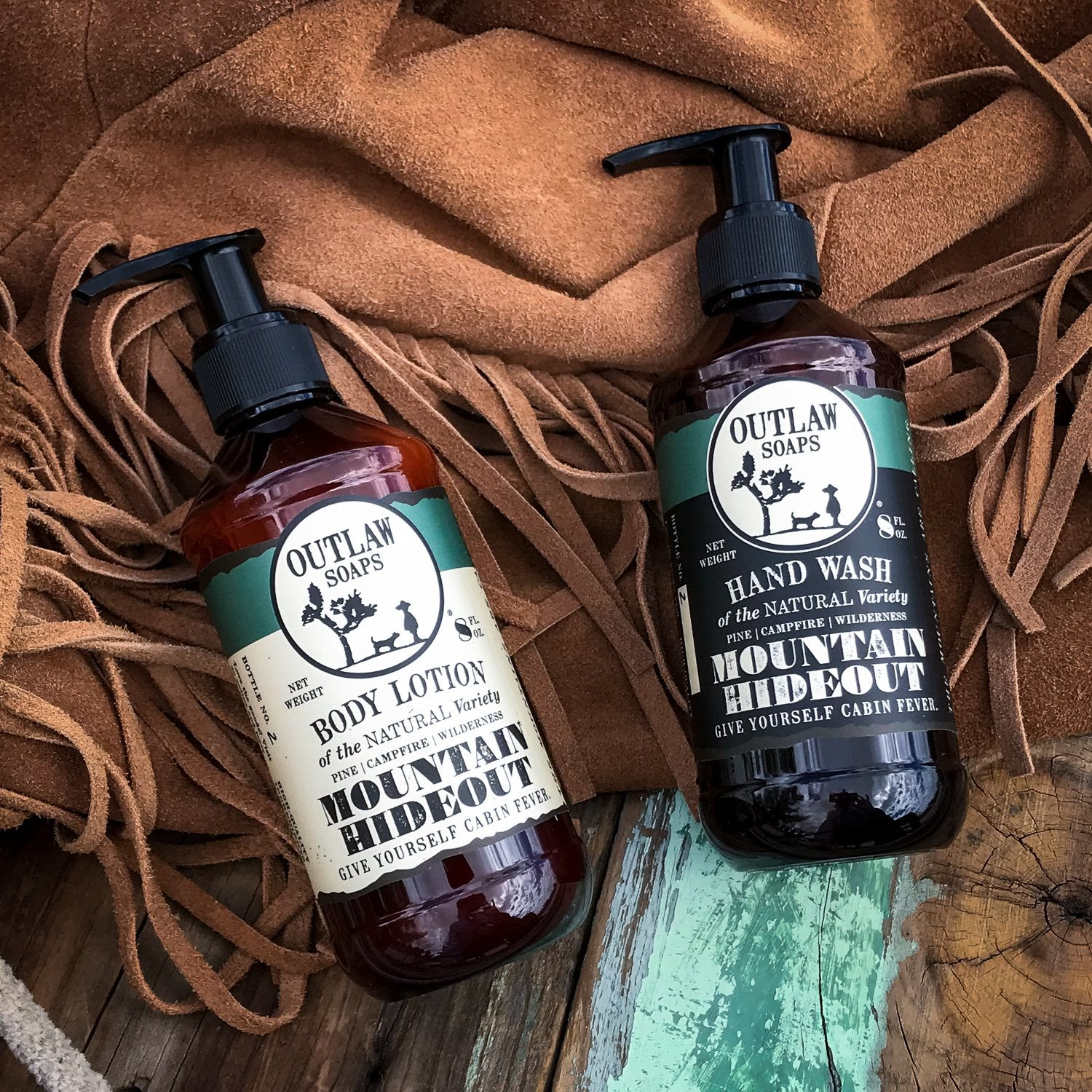 Mountain Hideout Natural Hand Wash and Lotion Set: In the mountains, you're free - Outlaw Soaps Western Soap and Lotion for Lovers of the Wild West