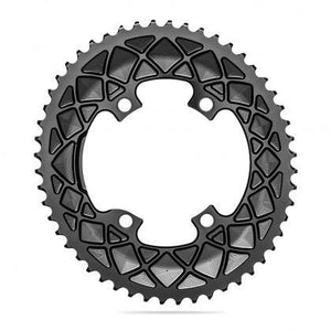 Absolute Black Oval Road Chainring 2X 110/4 Shimano 9100- 52T (Grey)