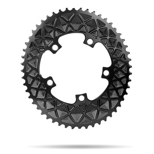 absoluteBLACK 2x 110/5 Road Oval Chainring (Black)
