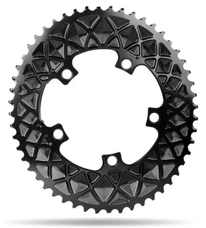 absoluteBLACK 2x 110/5 BCD Road Oval Chainring (Black)
