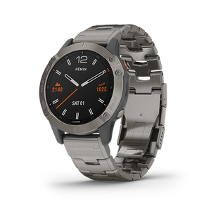Garmin Fenix 6 Smart Watch (Saphire Titanium/Titanium Band)