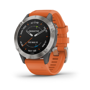 Garmin Fenix 6 Smart Watch (Saphire Titanium/Orange Band)
