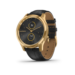 Garmin Vivomove Luxe Leather Smart Watch (Gold/Black)