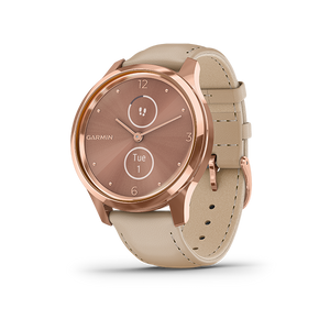Garmin Vivomove Luxe Leather Smart Watch (Rose Gold/Light Sand)