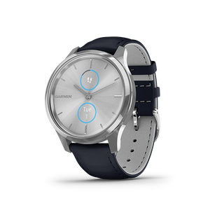 Garmin Vivomove Luxe Leather Smart Watch (Silver Navy)
