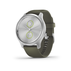 Garmin Vivomove Style Smart Watch (Silver/Moss Green)