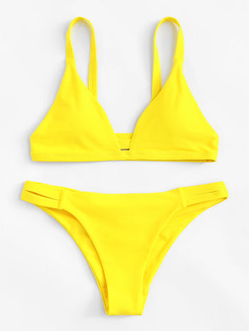 Sunrise Smash Swimwear with Strap Shoulder, Ruched Detail Bikini Set