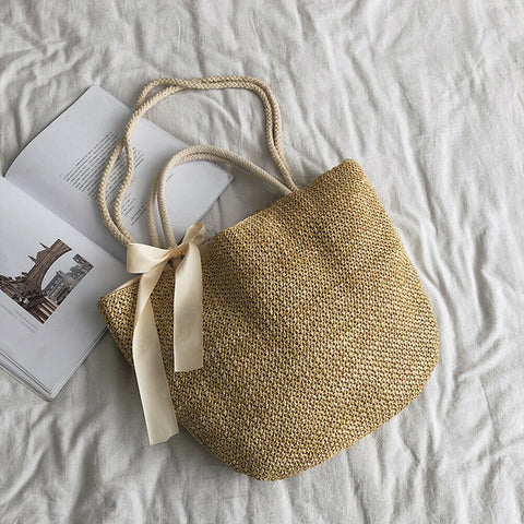 Straw Bag Beach Style Women Fashion Ribbon Bowknot Straw Woven Rattan Handbags Basket Shoulder Bags Large Capacity Casual Totes