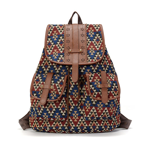 Leather Bohemian Backpack, Drawstring Bag, Rucksack