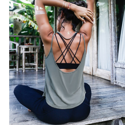 Backless Sports Tank Tops For Women, Sleeveless Gym T-Shirt
