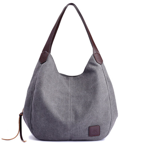 Large Women Handbag, Bag Canvas, Zipper Pockets, Shoulder Bags,