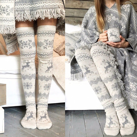 Thigh High Socks, Winter Snow Elk Leggings, Socks