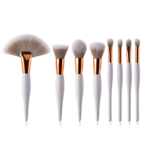 8 pcs Makeup Brush Set, Foundation, Eyeshadow, Eyeliner, Lip Brush, Tool White Black Cosmetic Skincare