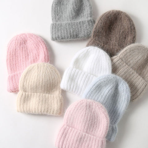 Angora Beanie in Soft Pastels