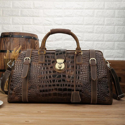 Crocodile Leather Travel Bag Men Handbag With Shoulder Strap Travelling Bag Luxury Design Alligator