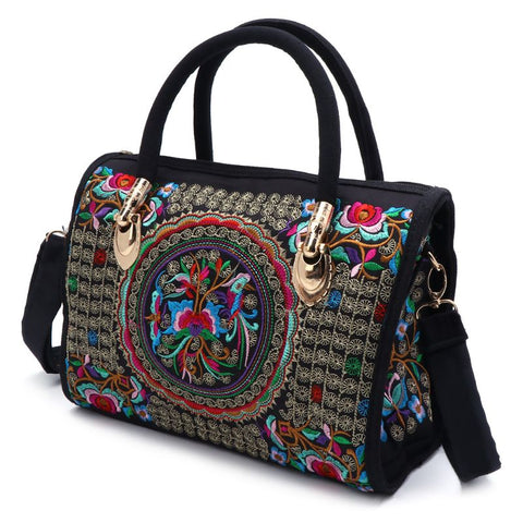 Floral Embroidered Handbag, Boho Canvas Tote