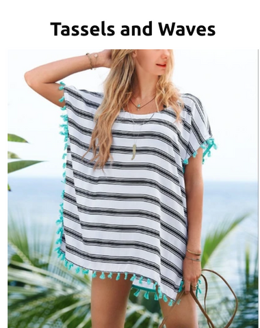 Swimsuit Cover Up  Tassels and Waves, USA, Ships Fast