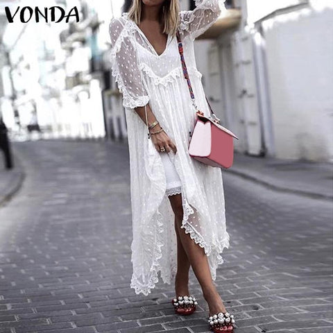 White Lace Summer Dress V-Neck Asymmetrical Hem