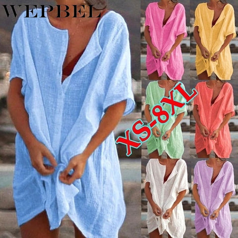 Cover Up Short Sleeve Long Blouses Casual Loose Solid Color Plus Size Beach Wear Cover-up Short Linen Blouse