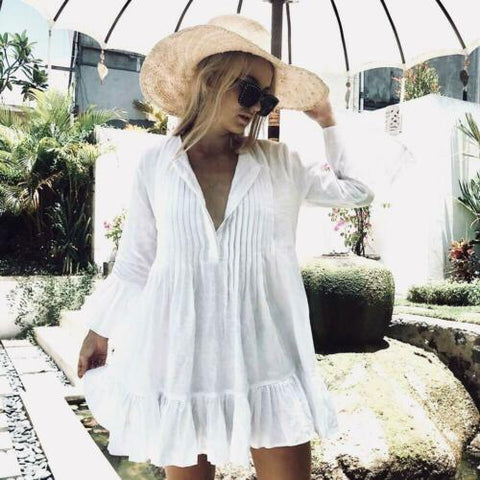 Boho Love, White Cotton Cover Up