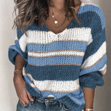 Striped Knit Pullover, Casual Long Sleeve Sweater, Jumper