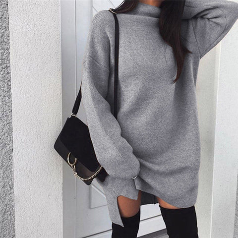 Winter Sweater Turtleneck, Long Sleeve Jumper Dresses, Solid Knit Sweaters Pullover Loose, Midi Dress