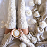 Warm Winter Thigh High Socks, Cable Knit Diamond Design