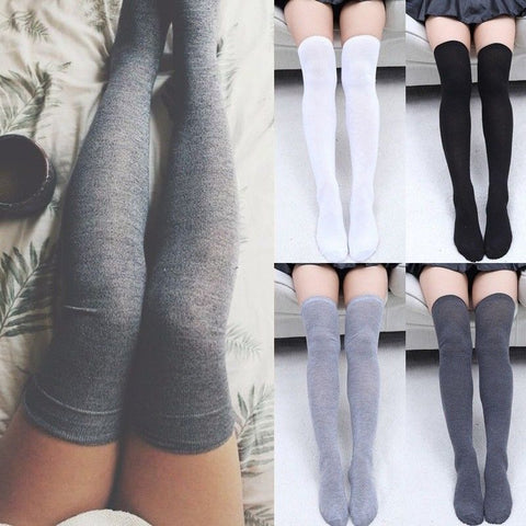 Warm Thigh High Socks, Over the Knee Socks, Long Cotton Socks