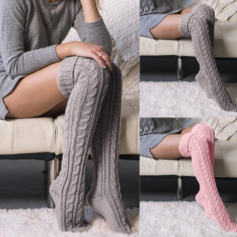 Warm Thigh High Socks, Long Cotton Stockings, Soft Wool Cotton Blend