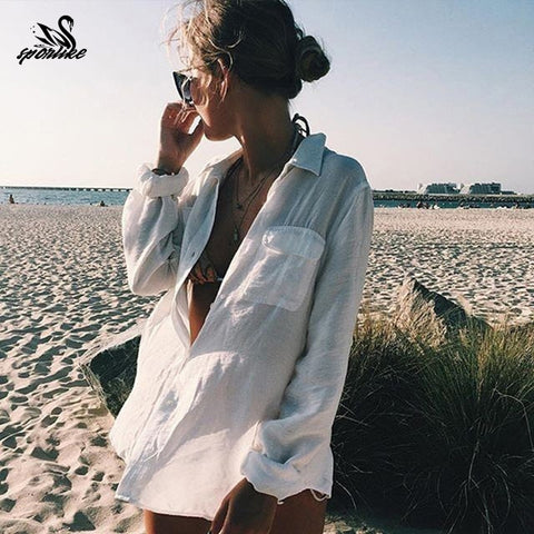 Boyfriend Shirt in White Cotton Cover Up