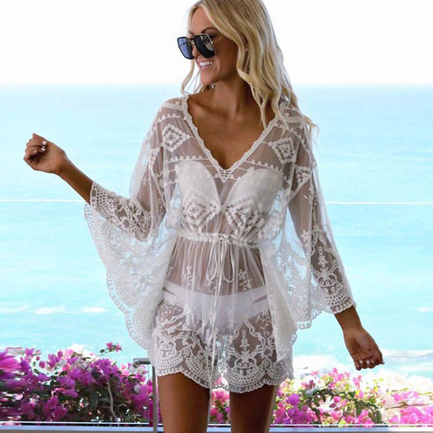 Feminine Floral Lace Crochet Swimsuit Cover-Up
