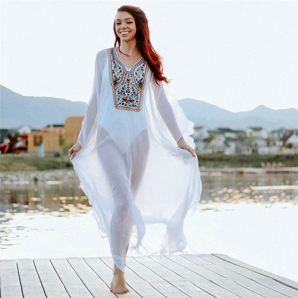 Embroidered Kaftan Cover Up