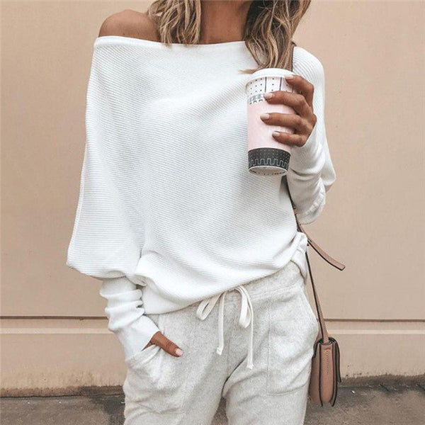 Gorgeous Sleeve Casual Loose Sweater Top,  Pullover, Off Shoulder
