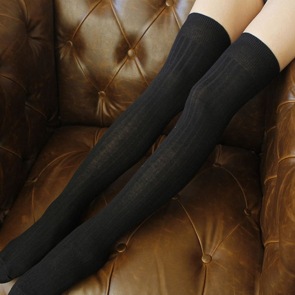 Thigh High Socks, Ladies Solid Colors Stockings, 6 Colors 1 Pair