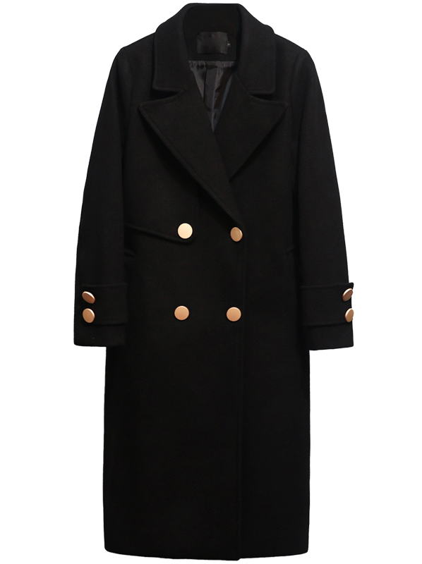 ANITA Black Longline Wool Coat
