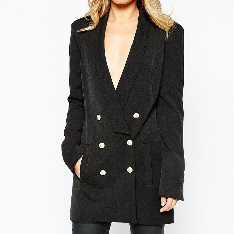 GLORIA Longline Double-breasted Buttoned Blazer - Mademoiselle Veste - 4