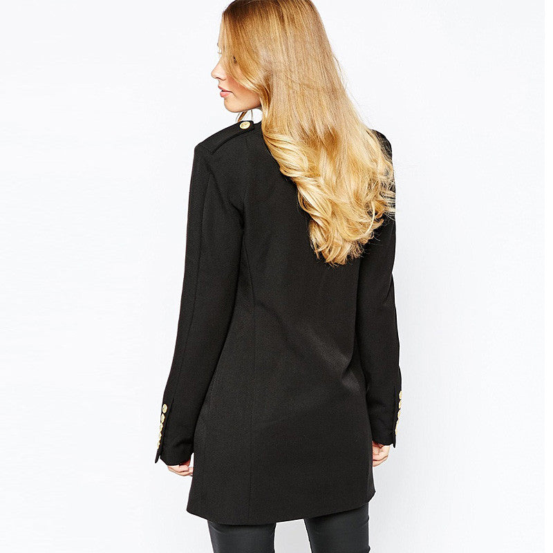 GLORIA Longline Double-breasted Buttoned Blazer - Mademoiselle Veste - 3